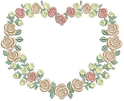 Coração com Rosas - Ponto Cheio