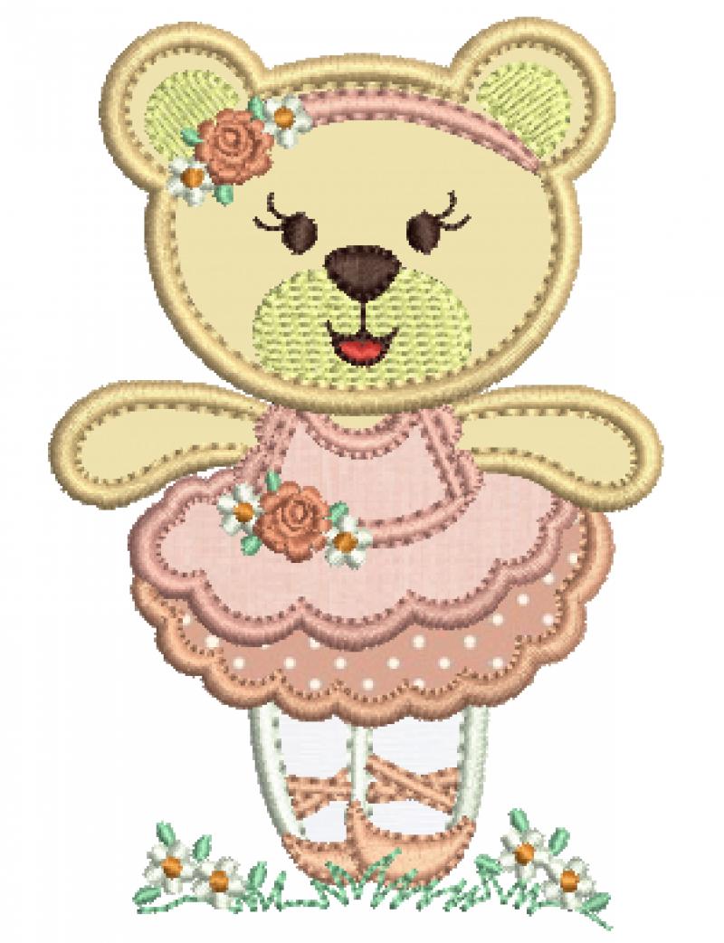 Ursa Bailarina com Tiara Mãos Abertas - Aplique