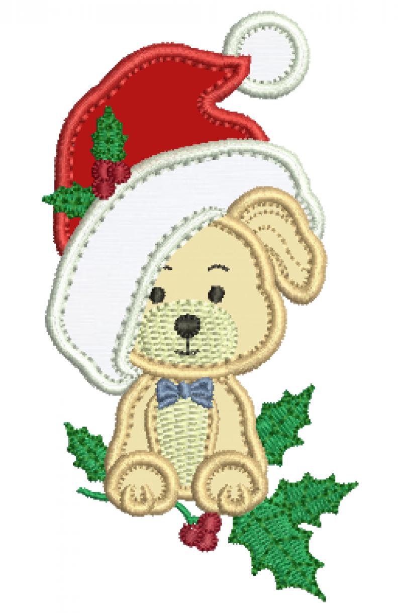 Cachorrinho com Gorro de Natal - Aplique
