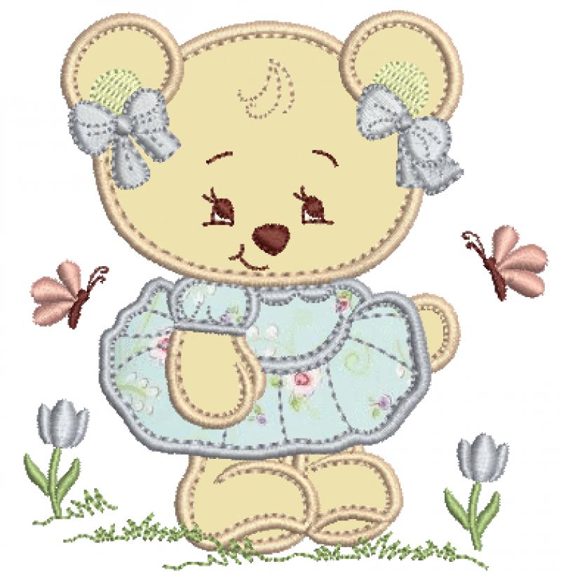 Ursa de Vestido e Lacinhos - Aplique