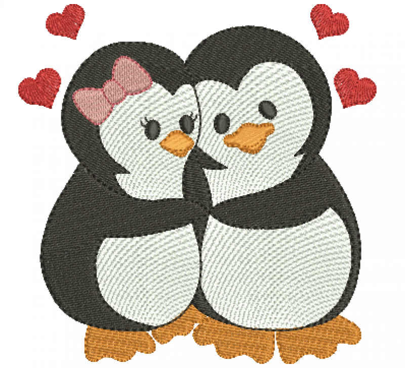 Pinguim Casal Abraçados - Ponto Cheio