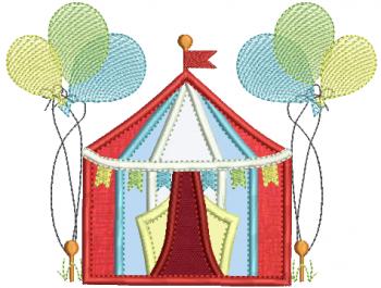 Circo em Aplique e Balões em Rippled