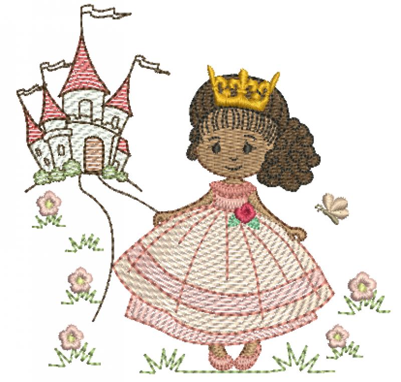 Princesa com Cachinhos e Castelo - Rippled