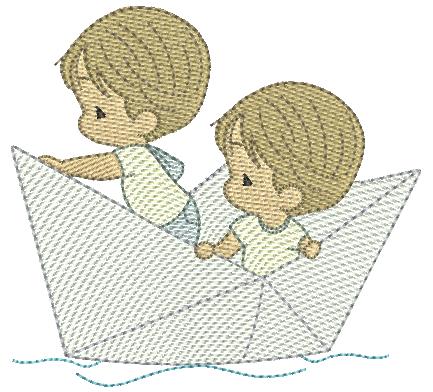 Meninos Cute no Barquinho - Rippled