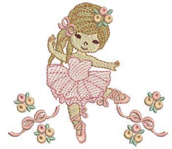 Bailarina com Laços e Rosas - Rippled
