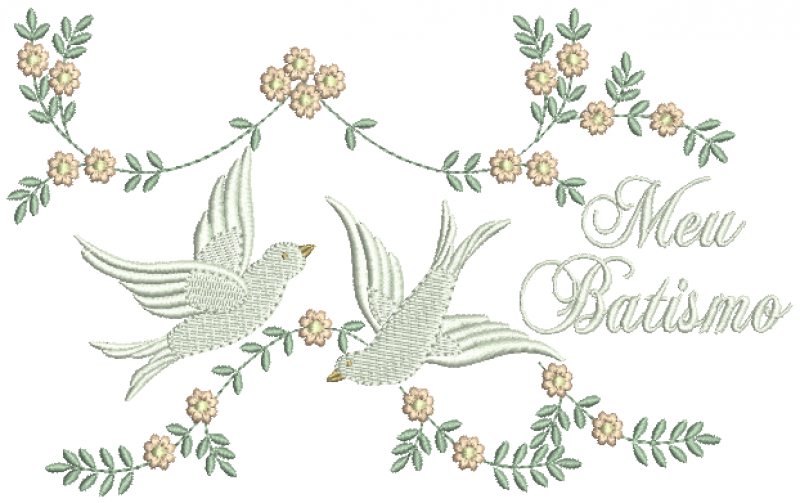 Pombos com Ramos de Flores - Meu Batismo