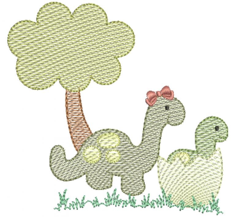 Dinossauro com Bebê na Casca de Ovo - Rippled