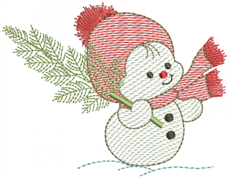 Boneco de Neve Segurando Pinheiro - Rippled
