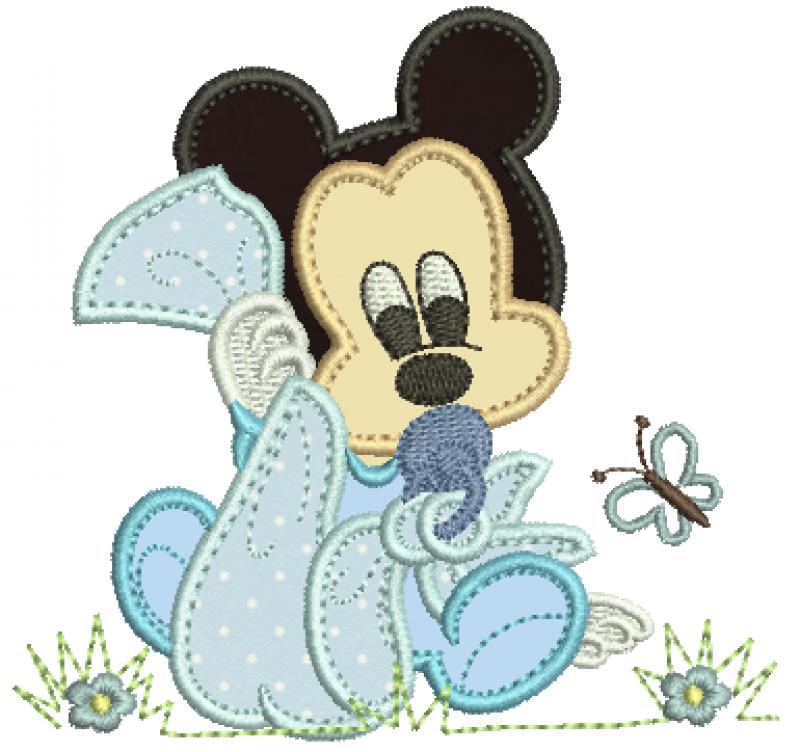 Mickey Baby Segurando Fraldinha - Aplique