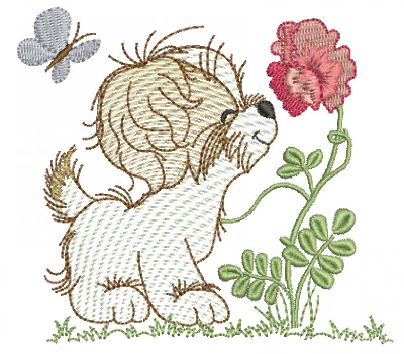 Cachorrinho com Flor - Rippled