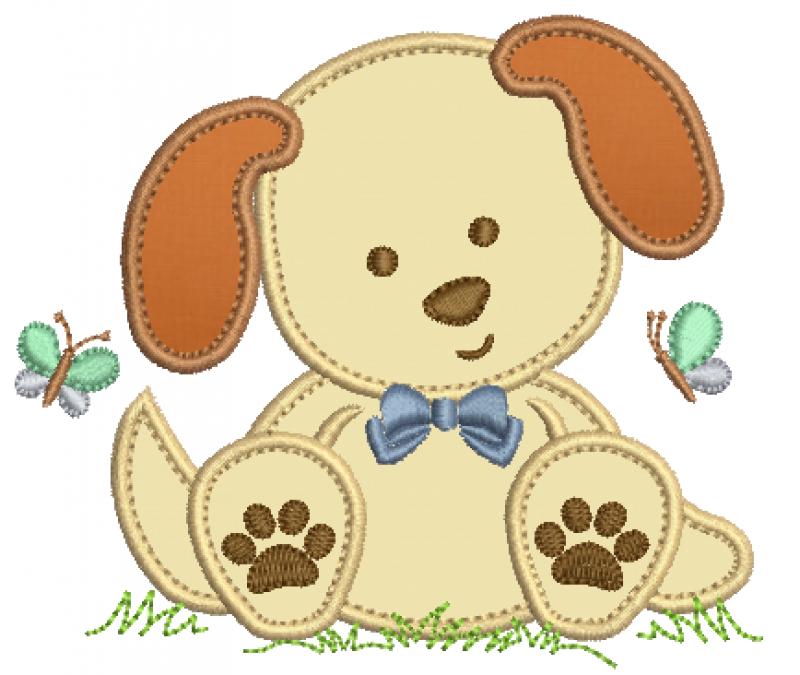 Cachorrinho Sentado com Gravata - Aplique