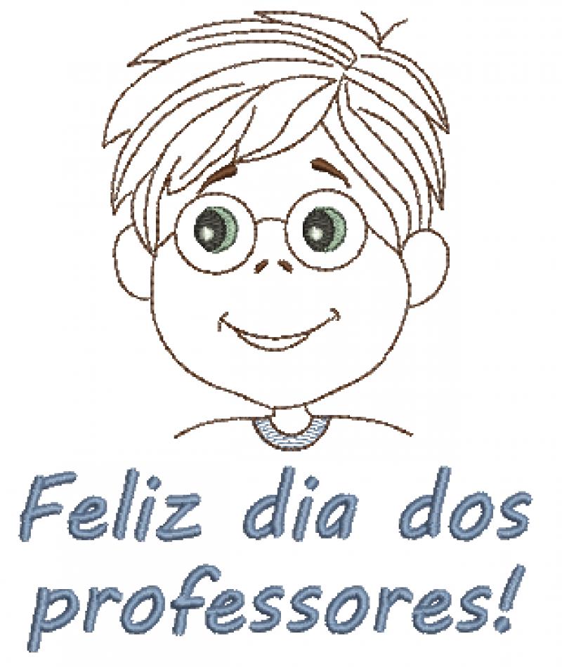 Menino de Óculos Feliz dia dos Professores - Ponto Corrido e Rippled