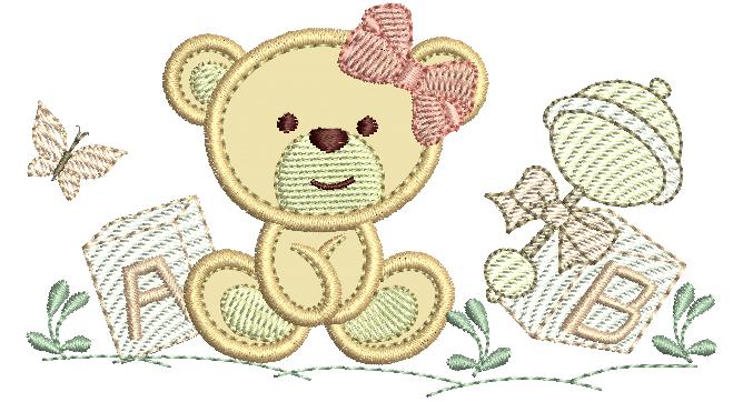 Ursinha com brinquedos - Aplique