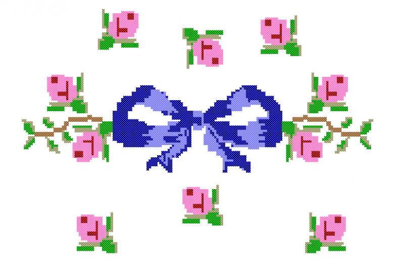 Laço com Rosas Delicadas - Ponto Cruz