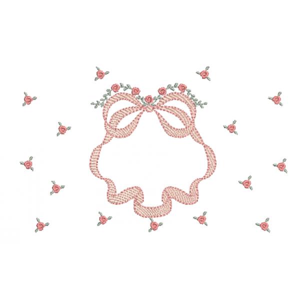 Laço e Rosas Pequenas - Pontos Cheio