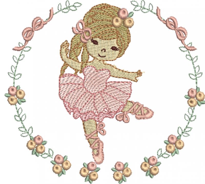 Bailarina Guirlanda com Laços e Rosas - Rippled