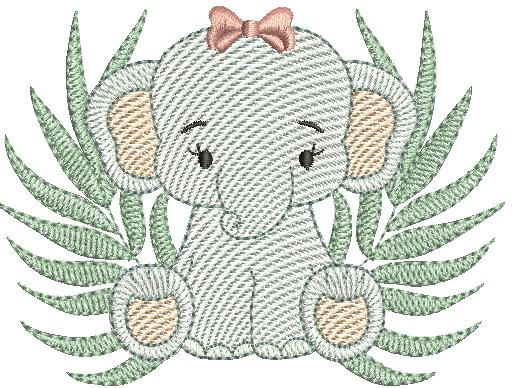 Elefanta Sentada com Folhagem - Rippled