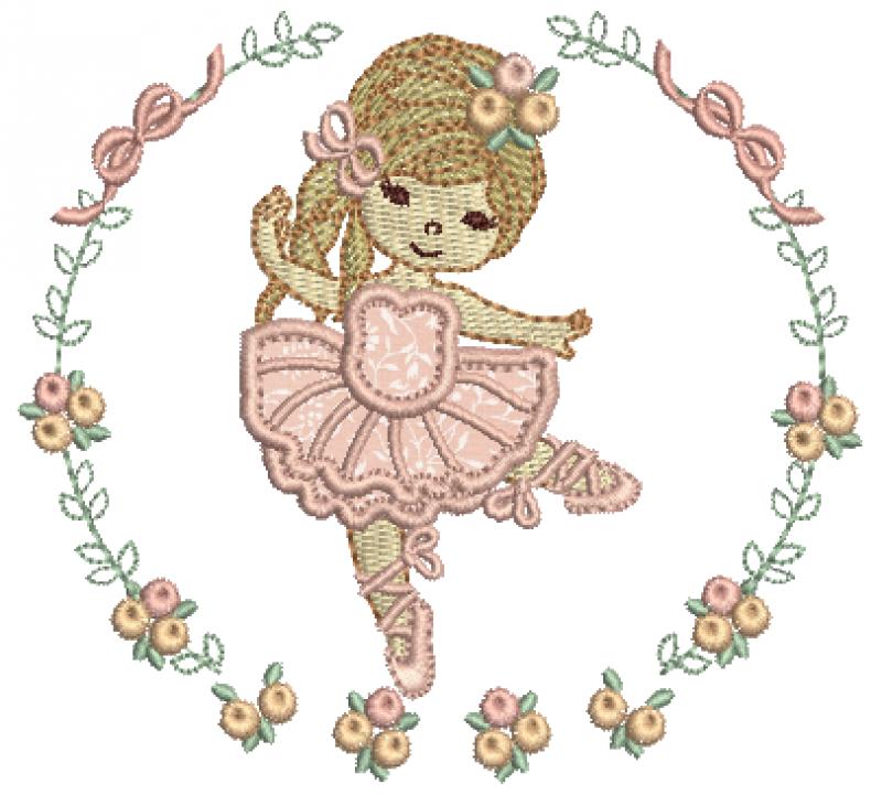 Bailarina Guirlanda com Laços e Rosas - Aplique