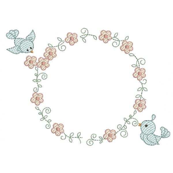 Passarinhos e Guirlanda de Flores - Pontos Leves