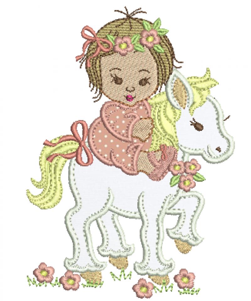 Bebê Menina no Cavalinho - Aplique
