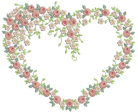 Coração com Raminho de Flores – Ponto Cheio