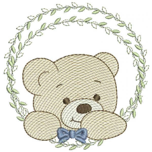 Urso na Moldura de Folhas - Pontos Leves