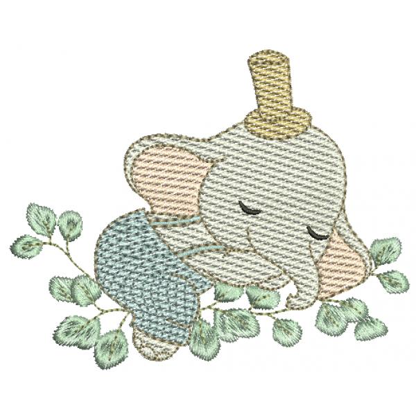 Elefante Dormindo Folhas - Pontos Leves