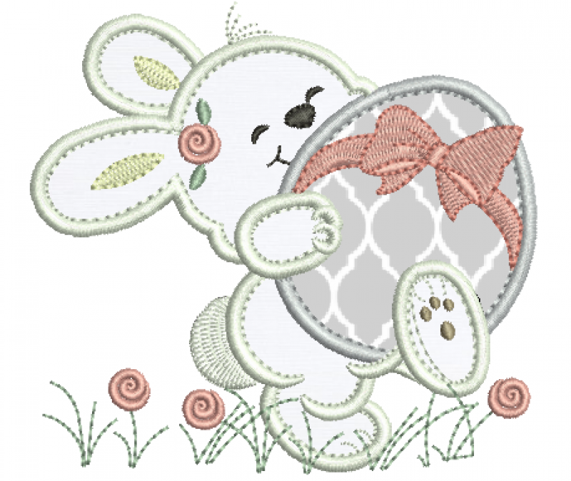 Coelha Segurando Ovo - Aplique