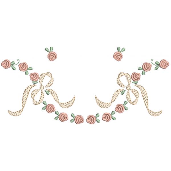 Laço e Rosas Pequenas - Pontos Leves e Cheio
