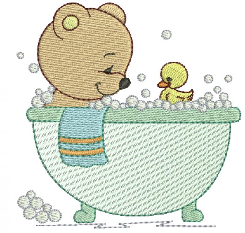 Urso na Banheira com Patinho - Rippled