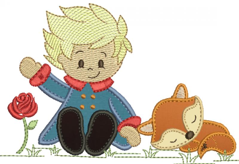 Pequeno Principe Sentado com  Raposa - Aplique