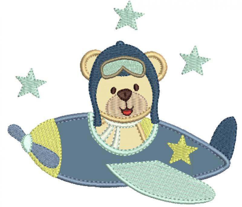 Urso Aviador No Avião Lateral - Aplique