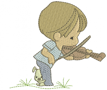 Menino Cute com Violino - Rippled