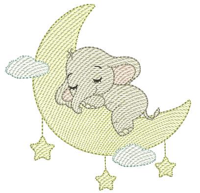Elefante Dormindo na Lua - Rippled