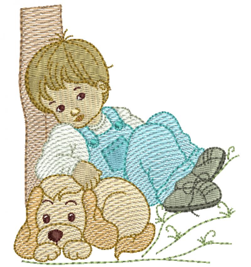 Menino Encostado na Àrvore e Cachorro - Rippled