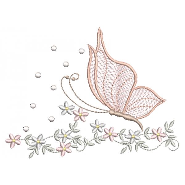 Borboleta e Galho Florzinhas  - Ponto Cheio e Rippled