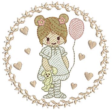 Menina com Urso na Moldura - Rippled