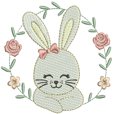 Coelha na Moldura e Flores - Rippled