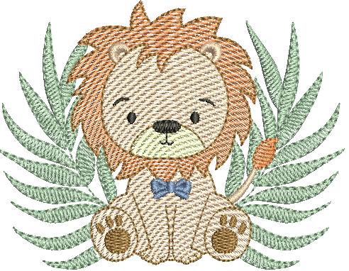 Leão Sentado com Folhagem - Rippled