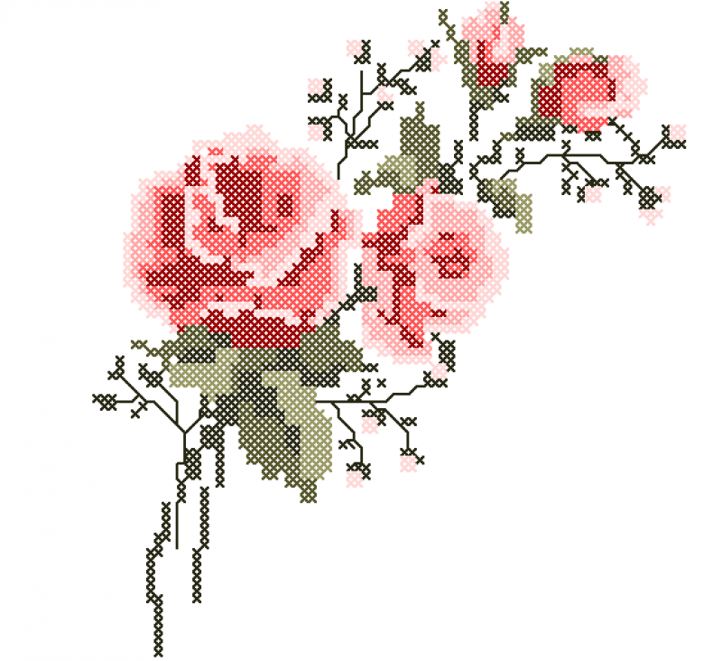 Ramo de Rosas Vermelhas - Ponto Cruz