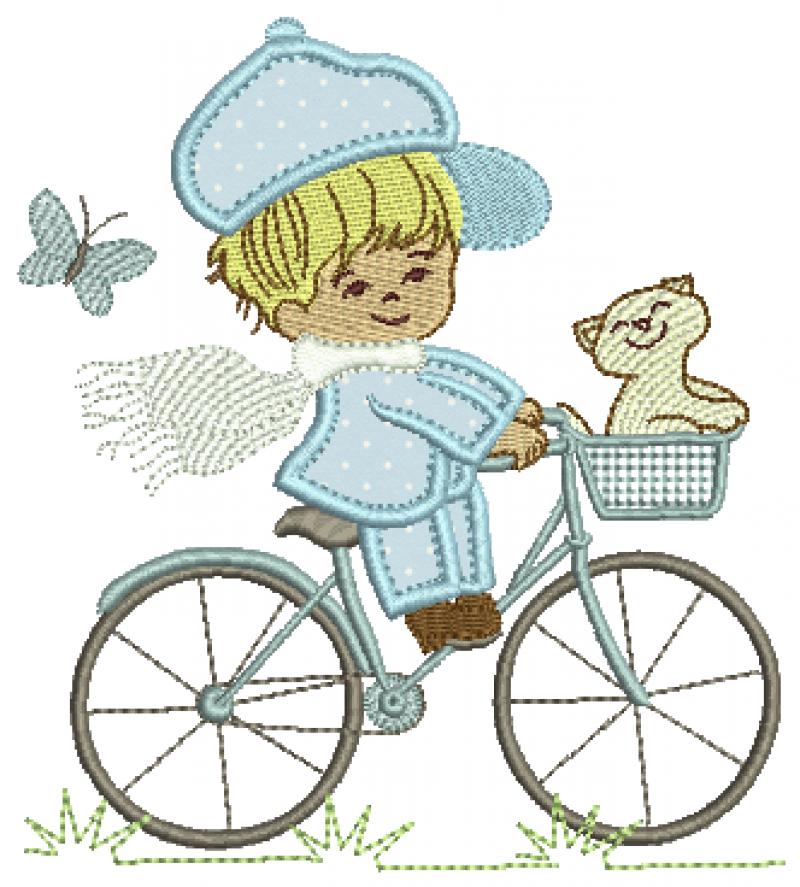 Menino na Bicicleta com Gatinho - Aplique