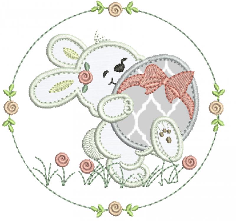 Coelha na Moldura e ovo - Aplique