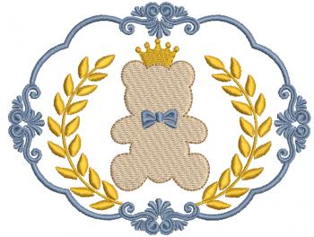 Moldura com Coroa de Louros e Ursinho - Ponto Cheio