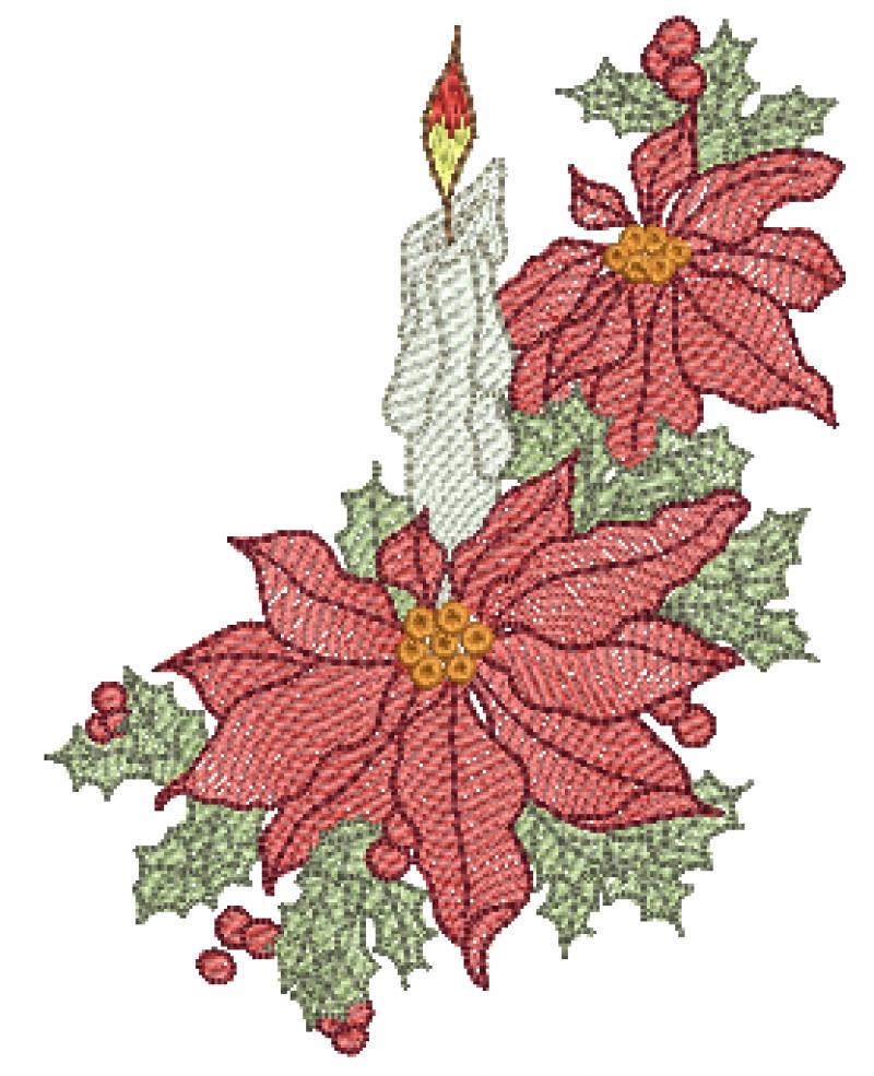 Vela com Flor de Natal - Rippled