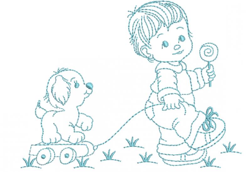 Menino Puxando Cachorro no Carrinho Redwork