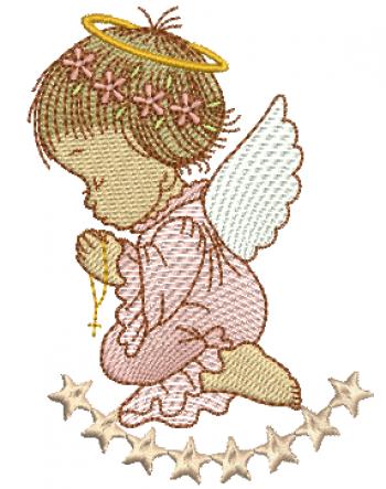 Anjo Menina Orando com Estrelas - Rippled