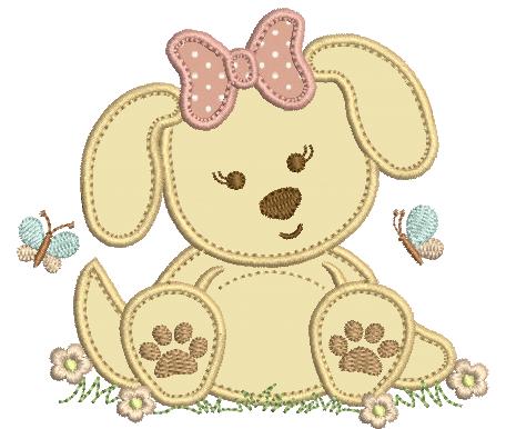Cachorrinha com Laço - Aplique