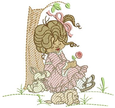 Menina Encostada na Árvore e Cachorrinho - Rippled