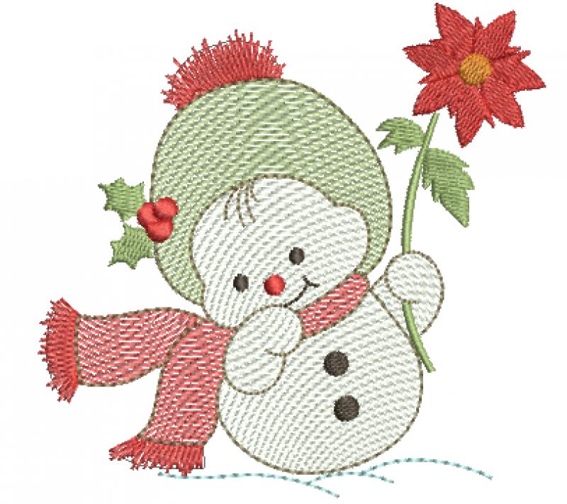 Boneco de Neve Segurando Flor de Natal - Rippled
