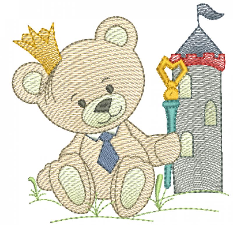 Urso Rei com Cetro e Castelo - Rippled